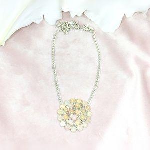 Opal & Diamond Sterling Silver Necklace
